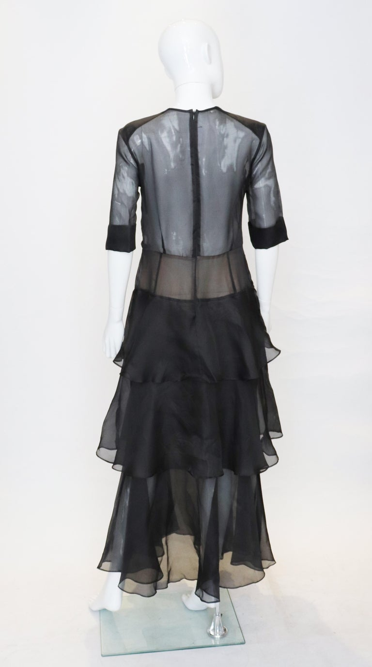 Alessandra Rich Black Silk Gown In Good Condition For Sale In London, GB