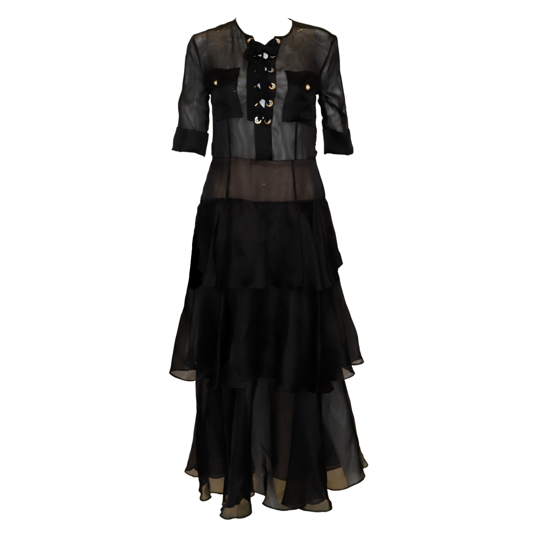 Alessandra Rich Black Silk Gown