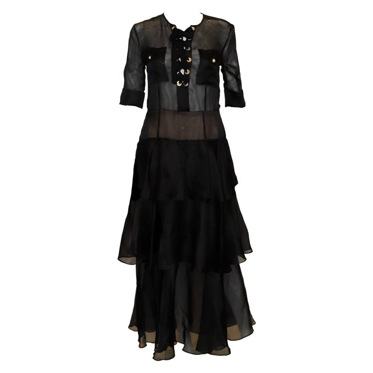Alessandra Rich Black Silk Gown For Sale