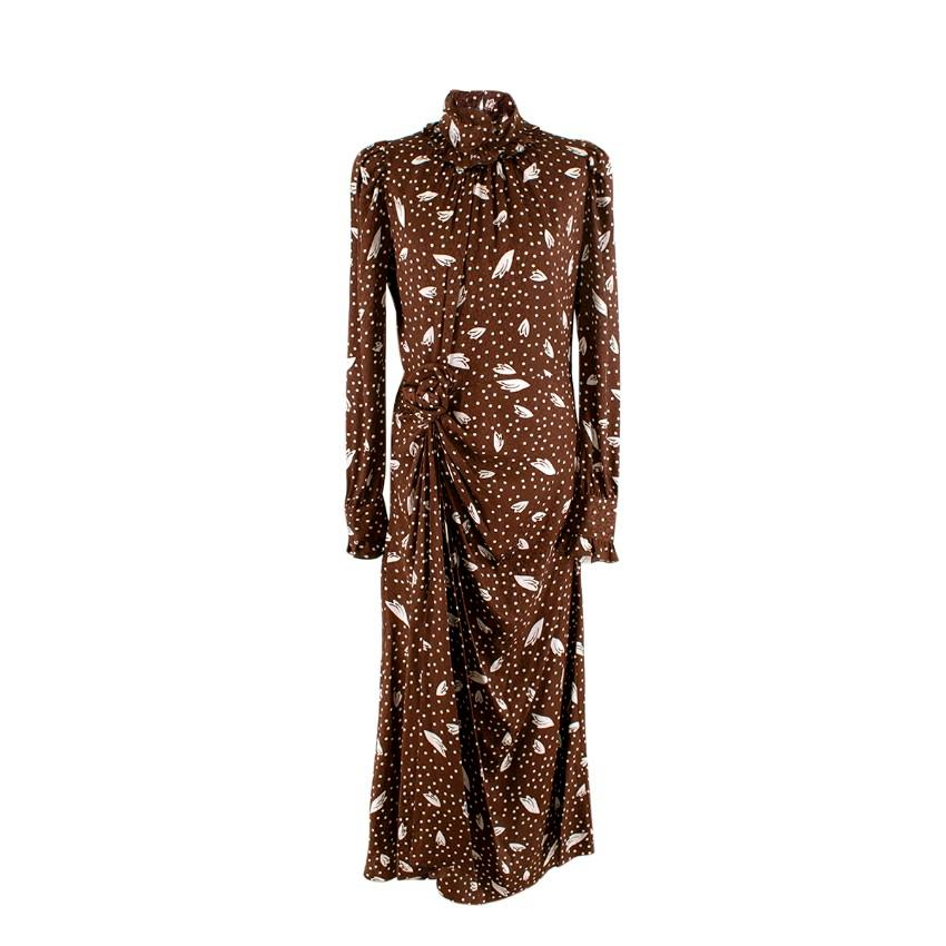 Alessandra Rich Brown Silk Jacquard Polka Dot Long Dress