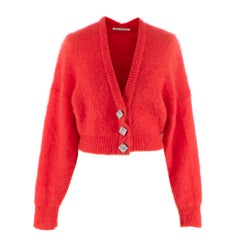Alessandra Rich Crystal Embellished Mohair Blend Cardigan - Us size