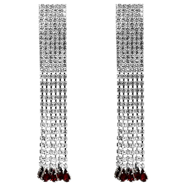 Alessandra Rich Crystal Fringe Clip-on Earrings rt. $310 For Sale