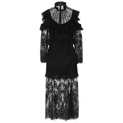 Alessandra Rich Cutout Ruffled Chantilly Lace Gown