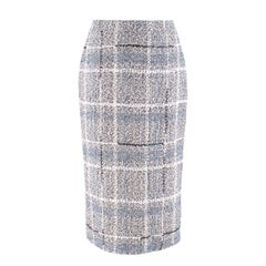 Alessandra Rich Metallic Tweed Pencil Skirt SIZE 38