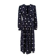 Alessandra Rich Navy Silk Keyhole Neck Daisy Print Long Dress