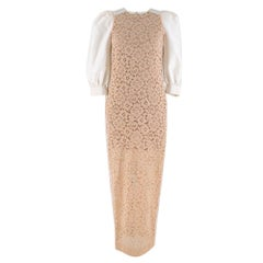 Alessandra Rich Nude Floral Lace Dress w/ Puff Sleeves 40 XS