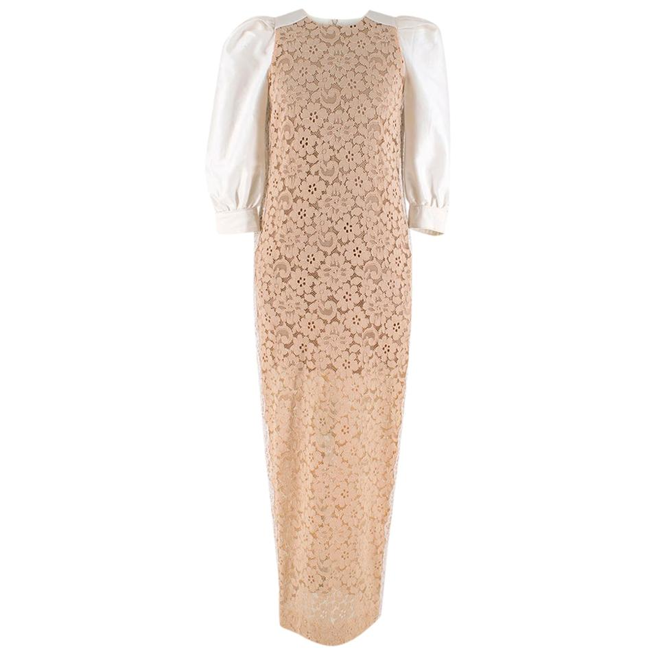 Alessandra Rich Nude Floral Lace Dress w/ Puff Sleeves - Size US 4