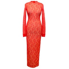 Alessandra Rich Red High neck Lace Dress - Size US 2