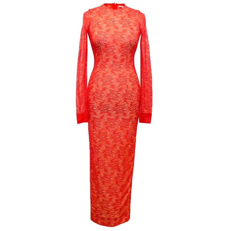 Alessandra Rich Red High neck Lace Dress - Size US 2 For Sale