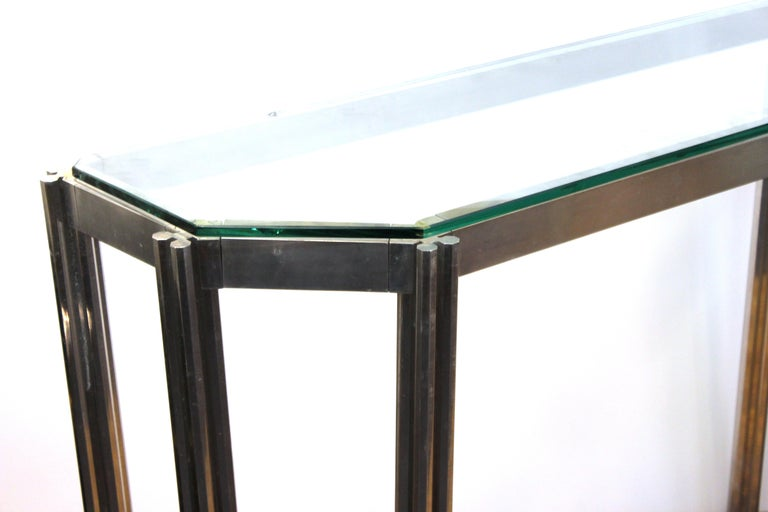Alessandro Albrizzi Chrome Wall Console with Glass Top For Sale 9