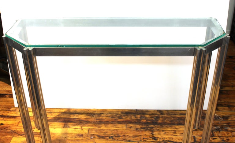 Mid-Century Modern Alessandro Albrizzi Chrome Wall Console with Glass Top For Sale
