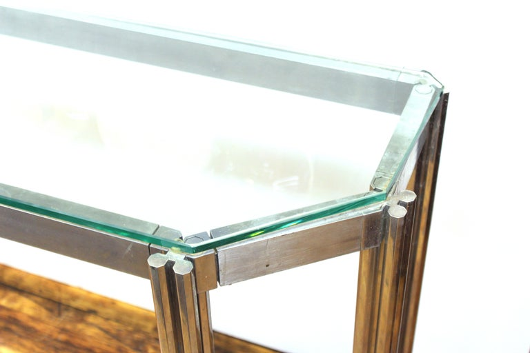 Italian Alessandro Albrizzi Chrome Wall Console with Glass Top For Sale
