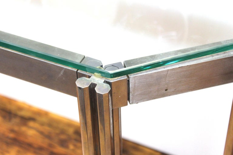 Alessandro Albrizzi Chrome Wall Console with Glass Top In Good Condition For Sale In New York, NY