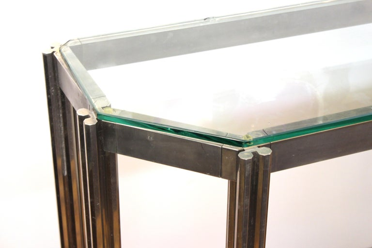 20th Century Alessandro Albrizzi Chrome Wall Console with Glass Top For Sale