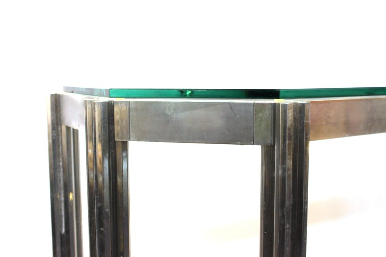 Alessandro Albrizzi Chrome Wall Console with Glass Top For Sale 2