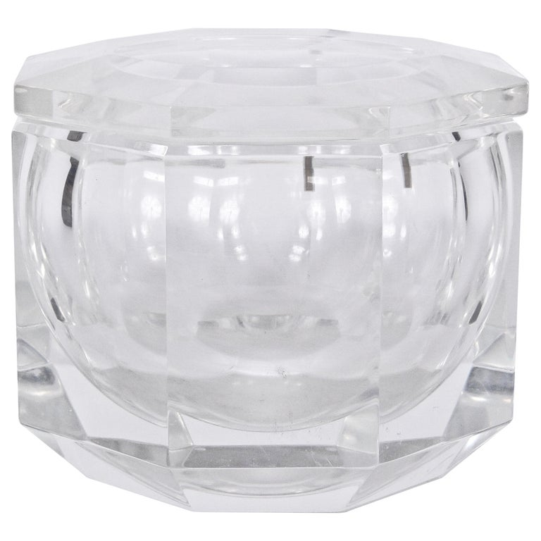 Alessandro Albrizzi Faceted Lucite Ice Bucket, circa 1970 For Sale