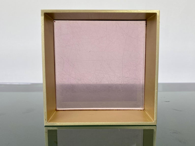 Alessandro Albrizzi Cube Box in Purple Lucite and Gold Metal, Italy, 1970s For Sale 3