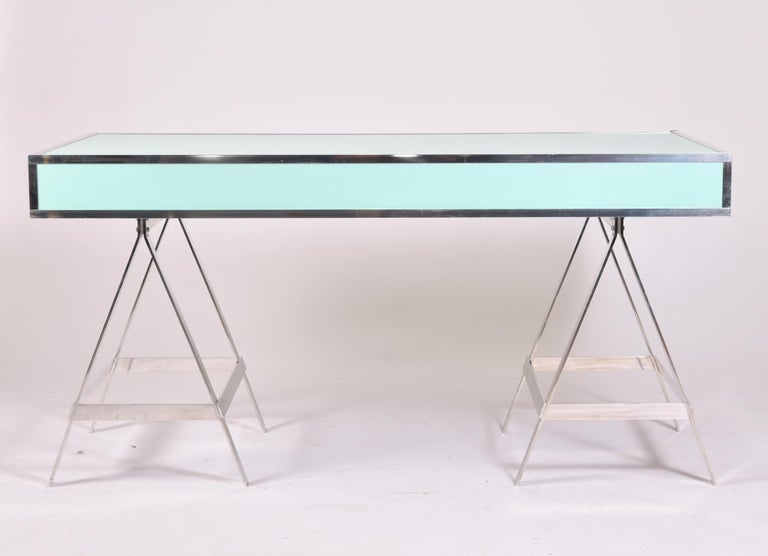 Aluminum Alessandro Albrizzi Desk, circa 1970 For Sale