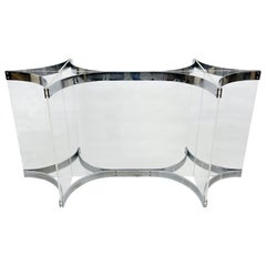 Alessandro Albrizzi Dining Table Base Chrome Plated Steel and Lucite
