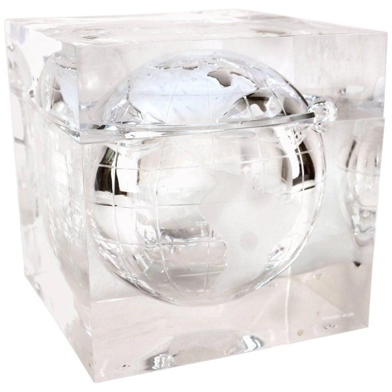 9cbc82956525 Alessandro Albrizzi Ice Bucket with Globe in Lucite