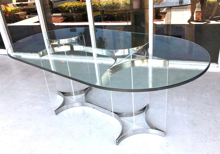 Alessandro Albrizzi Lucite, Chrome and Glass Dining Table, 1970s In Good Condition In Miami, FL