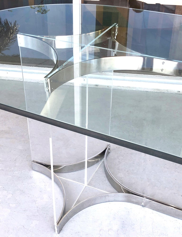 Late 20th Century Alessandro Albrizzi Lucite, Chrome and Glass Dining Table, 1970s