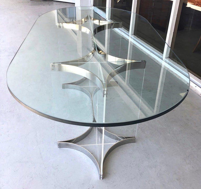 Alessandro Albrizzi Lucite, Chrome and Glass Dining Table, 1970s 2