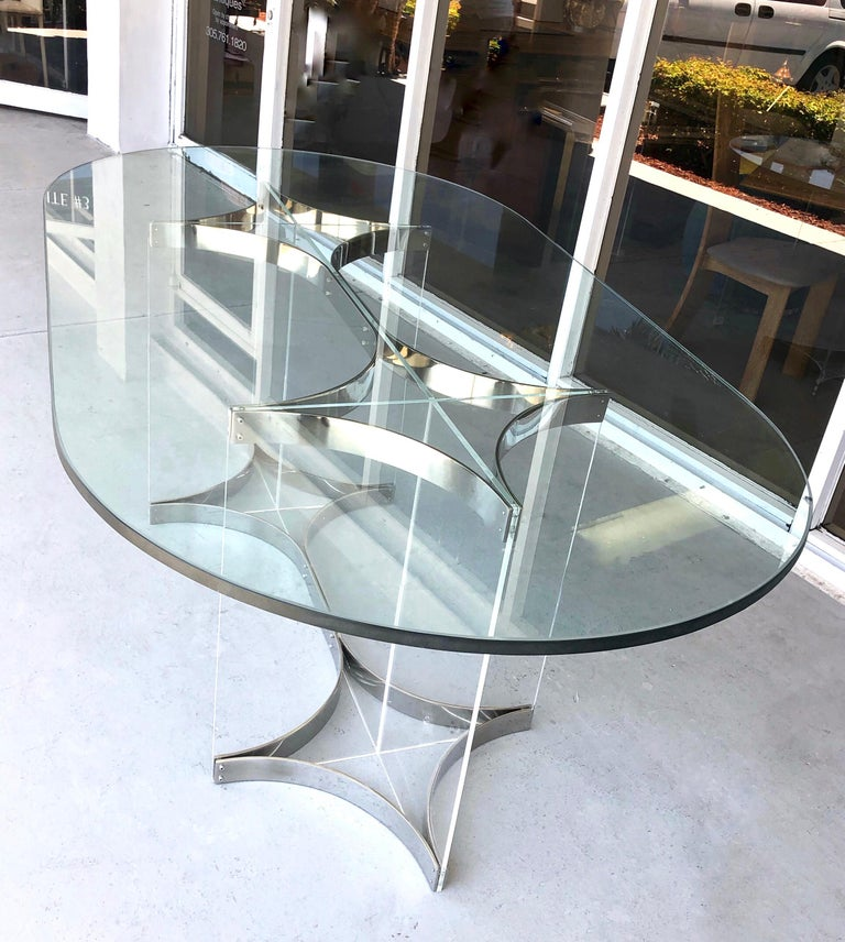 Alessandro Albrizzi Lucite, Chrome and Glass Dining Table, 1970s 3