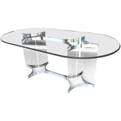 Alessandro Albrizzi Lucite, Chrome and Glass Dining Table, 1970s
