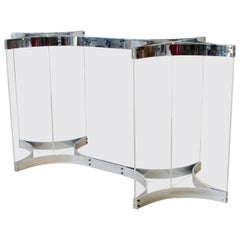 Alessandro Albrizzi Lucite with Chrome Bands Dining Table Base Only