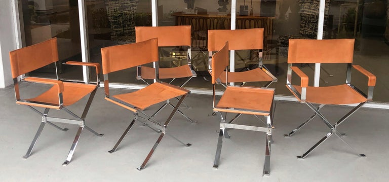 Italian Alessandro Albrizzi Nickel and Double Stitched Saddle Leather 6 Dining Chairs