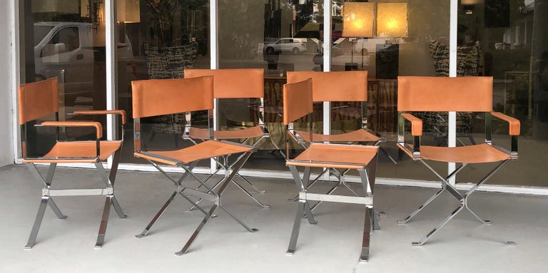 Alessandro Albrizzi Nickel and Double Stitched Saddle Leather 6 Dining Chairs In Good Condition In Miami, FL