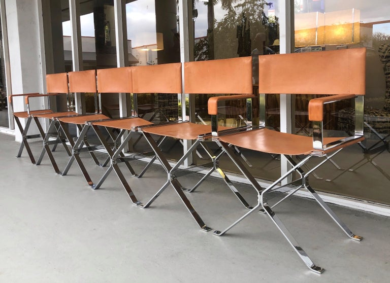 Mid-20th Century Alessandro Albrizzi Nickel and Double Stitched Saddle Leather 6 Dining Chairs