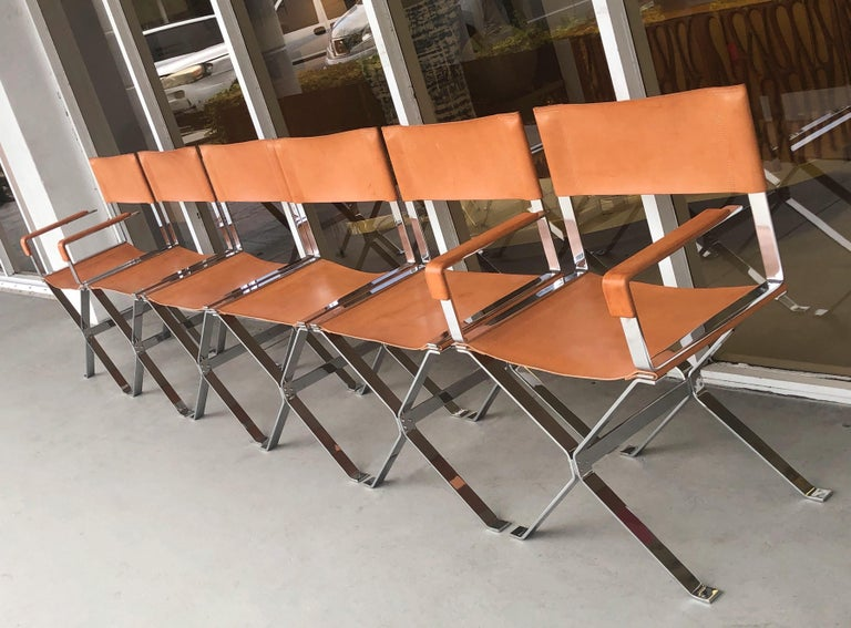 Alessandro Albrizzi Nickel and Double Stitched Saddle Leather 6 Dining Chairs 1