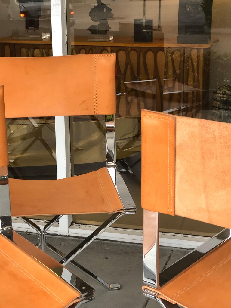 Alessandro Albrizzi Nickel and Double Stitched Saddle Leather 6 Dining Chairs 3