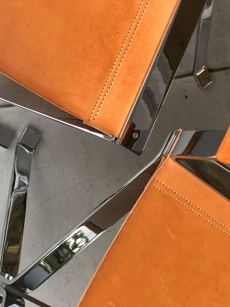 Alessandro Albrizzi Nickel and Double Stitched Saddle Leather 6 Dining Chairs 4