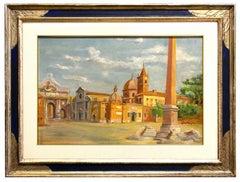 Piazza del Popolo, Rome - Oil on Cardboard - Early 20th Century