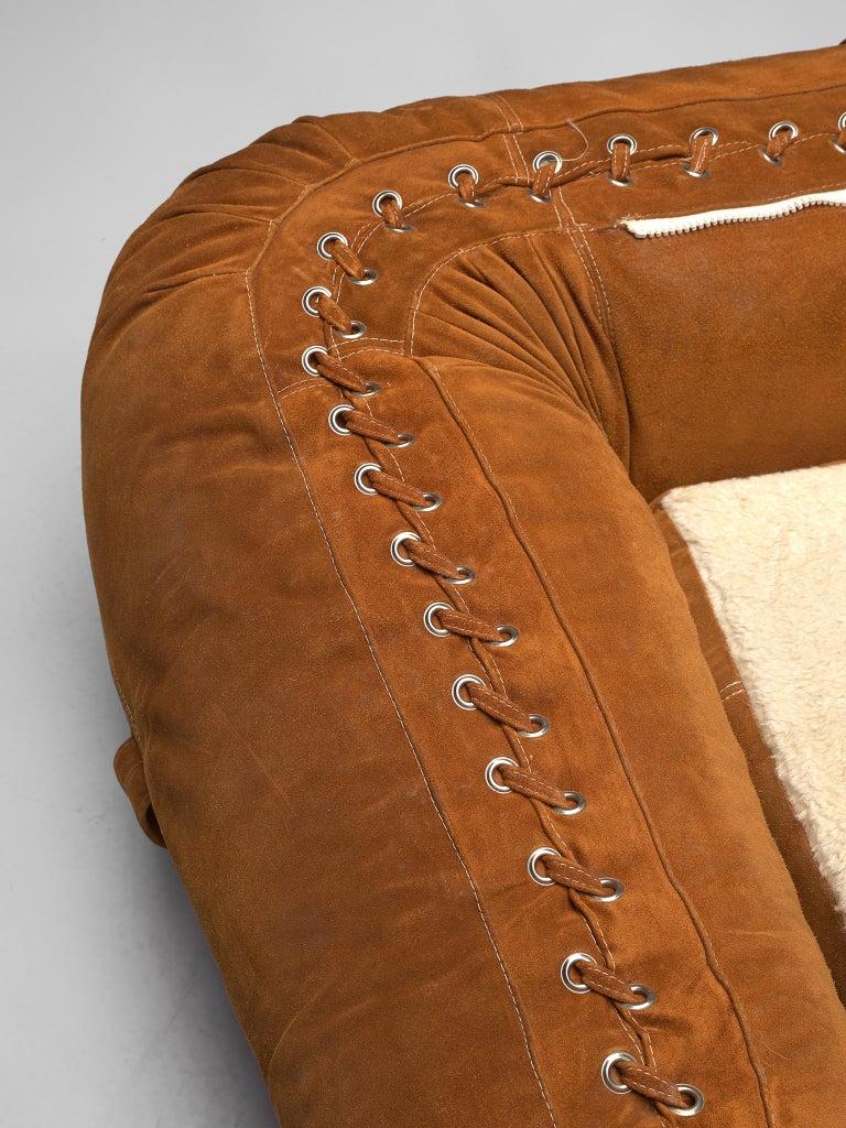 Alessandro Becchi 'Anfibio' Sofa in Cognac Suede For Sale 5