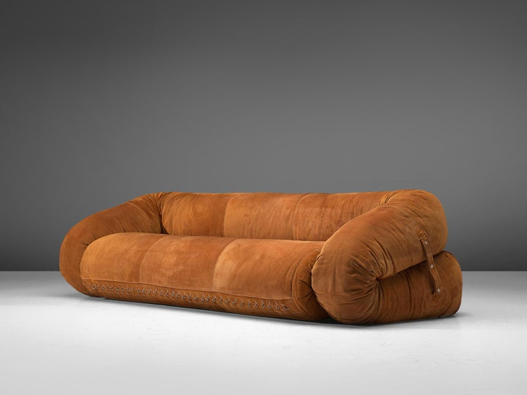 Alessandro Becchi for Giovanetti, Anfibio suede sofa bed, Italy, 1970s.  This rare