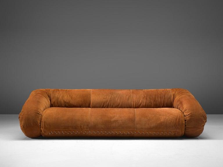Mid-Century Modern Alessandro Becchi 'Anfibio' Sofa in Cognac Suede For Sale