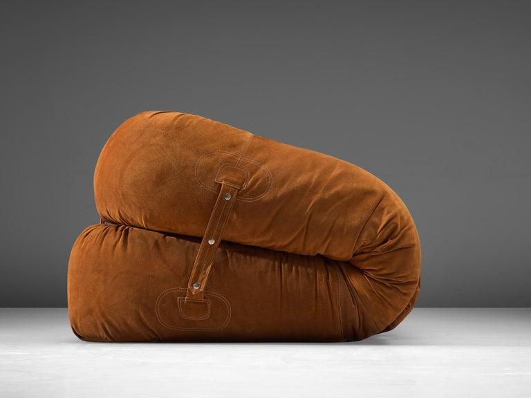 Italian Alessandro Becchi 'Anfibio' Sofa in Cognac Suede For Sale