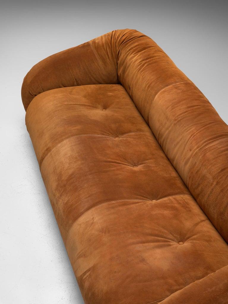 Late 20th Century Alessandro Becchi 'Anfibio' Sofa in Cognac Suede For Sale