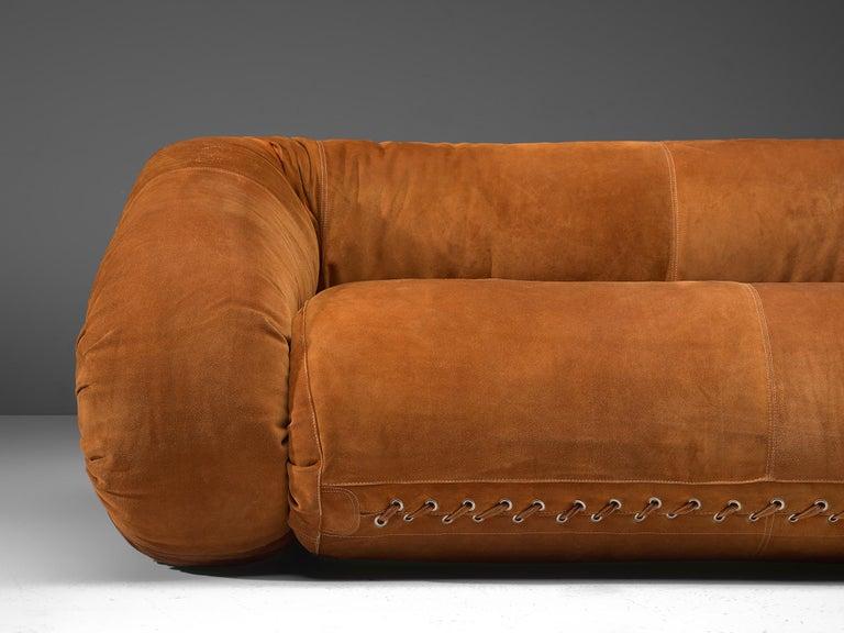 Alessandro Becchi 'Anfibio' Sofa in Cognac Suede For Sale 1