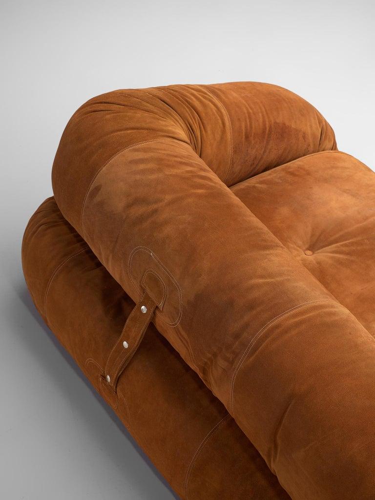 Alessandro Becchi 'Anfibio' Sofa in Cognac Suede For Sale 2