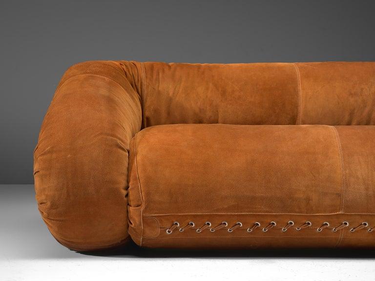 Alessandro Becchi for Giovanetti 'Anfibio' Sofa in Cognac Leather For Sale 3