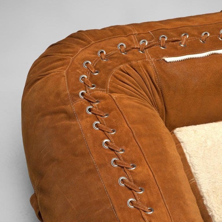 Alessandro Becchi for Giovanetti 'Anfibio' Sofa in Cognac Leather For Sale 4