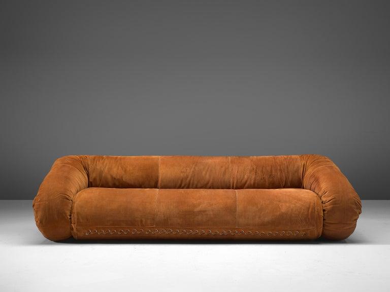 Italian Alessandro Becchi for Giovanetti 'Anfibio' Sofa in Cognac Leather For Sale