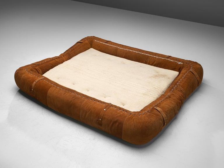 Suede Alessandro Becchi for Giovanetti 'Anfibio' Sofa in Cognac Leather For Sale