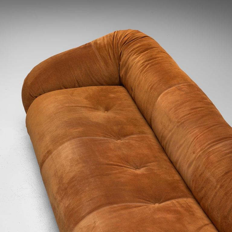 Alessandro Becchi for Giovanetti 'Anfibio' Sofa in Cognac Leather For Sale 1