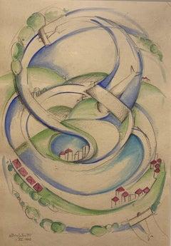 """Airplanes in flight"" Flight, Italian Futurism, , aircraft, 1937, watercolor,"